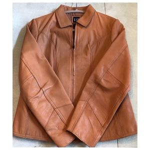 GAP | Camel Leather Moto Jacket Tailored & Lined !